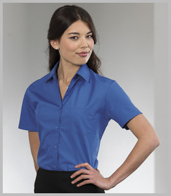 Russell Ladies Short Sleeve Easy Care Cotton Poplin Shirt