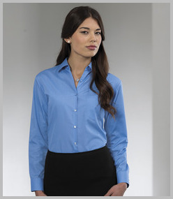 Russell Ladies Long Sleeve Easy Care Poplin Shirt