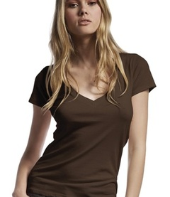 Continental Womens Deep V-Neck Fine Jersey T-Shirt