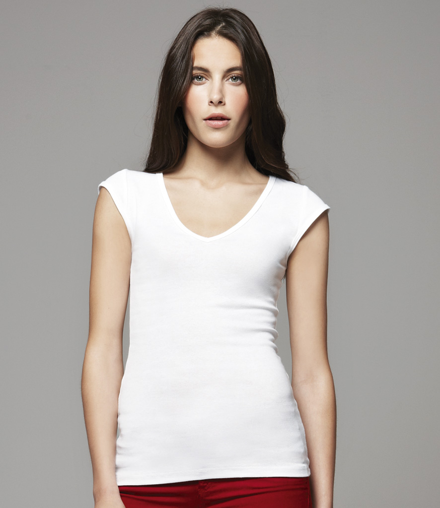 Bella Sheer Rib V Neck T-Shirt