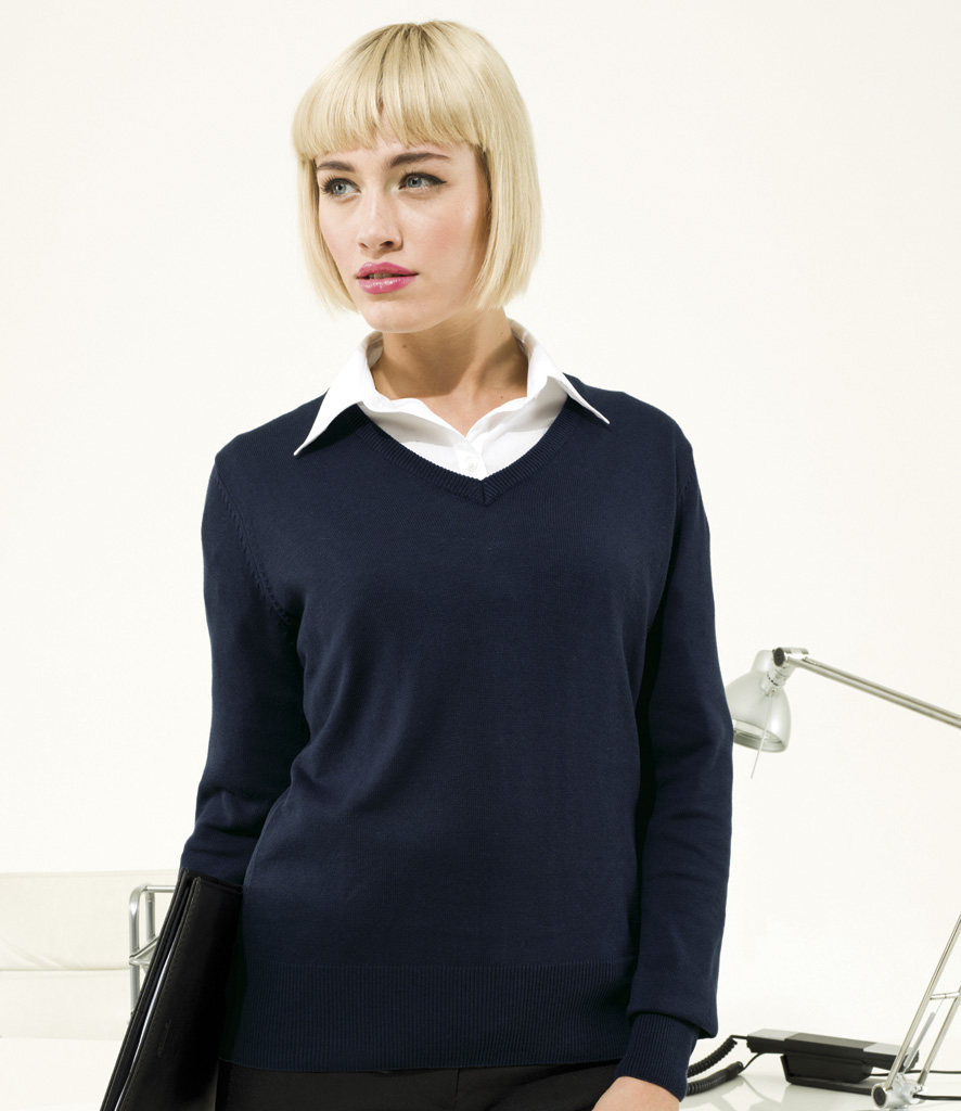 Premier Ladies Knitted V Neck Sweater