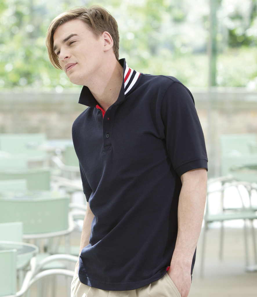 Henbury Striped Collar Pique Polo Shirt