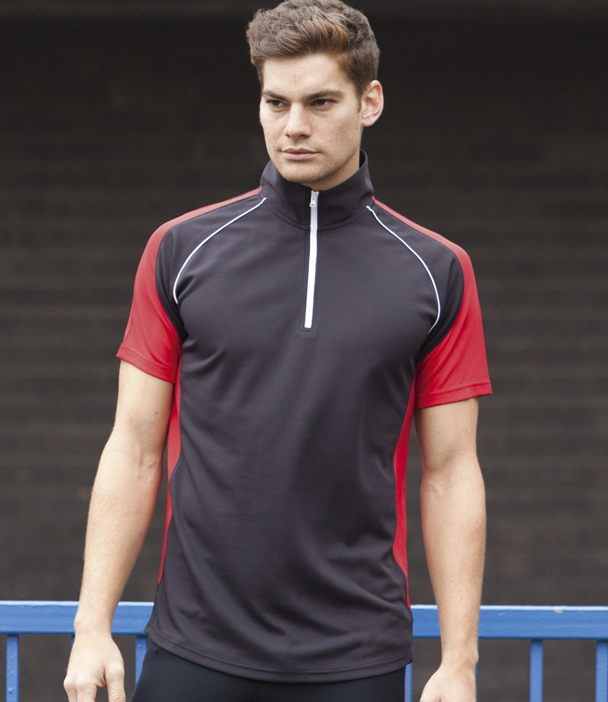 Tombo Teamsport Panel Zip Neck Top