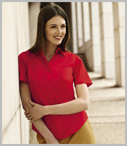 Fruit of the Loom Lady-Fit Short Sleeve Poplin Shirt
