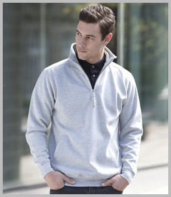 Henbury Zip Neck Sweatshirt