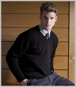 Henbury Lambswool V Neck Sweater